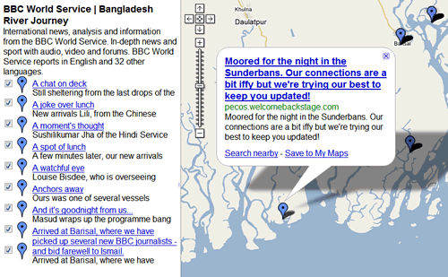 BBC World Service Bangladesh River Journey GeoRSS feed plotted on to Google Maps
